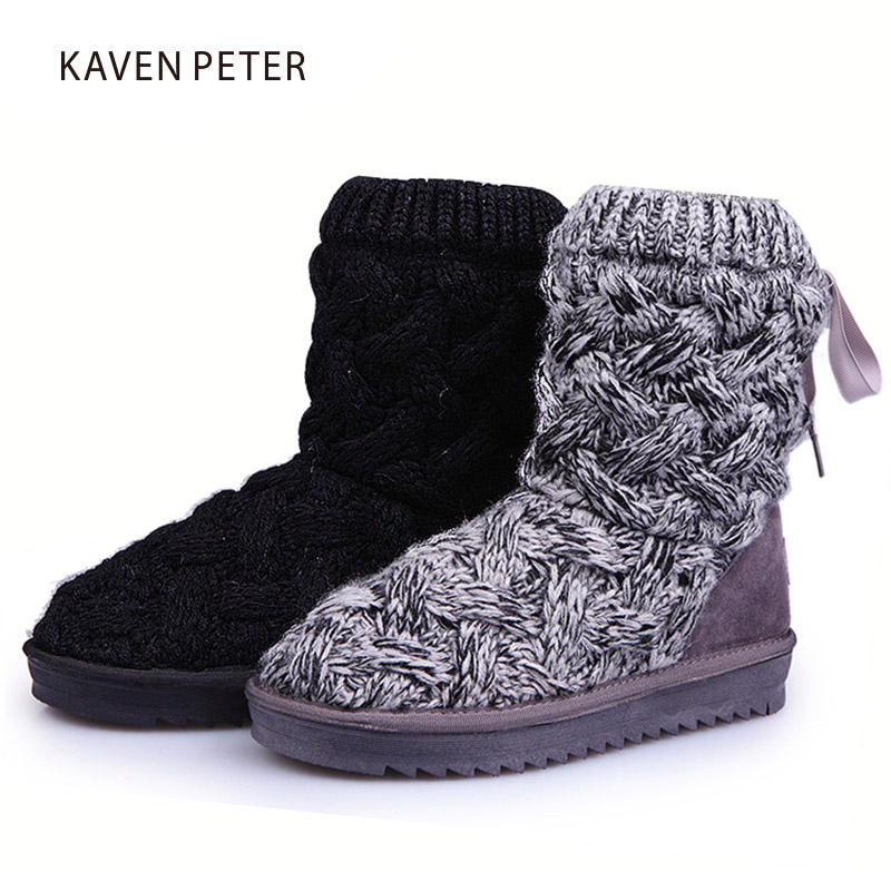 2017 fashion children snow boots kids winter knitted boots inside with fur cross-tied girls winter boots boys warm shoes faux fur knitted bowknot snow boots