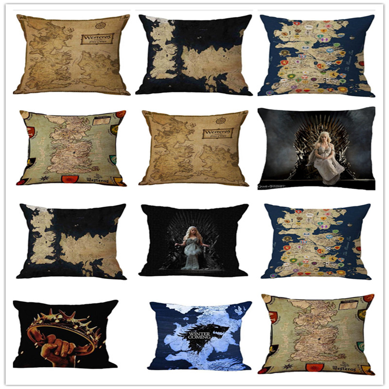 Modern Nordic Retro Game Of Thrones Map Pillow Case Middle Earth Map Poster Travel  For  Accessories