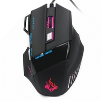 Ahmmio 2400DPI 7 Buttons Optical Gaming Portable USB Wired Mouse Frame Icon 7 Colors LED For