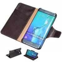 S6 Bord Plus Véritable Naturel Yak Étui En Cuir pour Samsung Galaxy S6 Bord Plus Flip Couverture Avec Support de Carte De Pochette Titulaire DLS-040