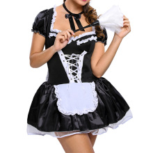 KingMistres Plus Size Sexy Satin French Maid Pleated Mini Dress with Bow Lace Trim