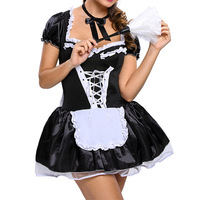 Plus Size Sexy Satin French Maid Pleated Mini Dress with Bow and Lace Trim Japanese Chef Role Play Fatansy Cosplay Costume