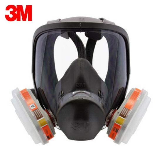 3M 6900 Full Facepiece Reusable Mask Large Size with 6009 Gas Cartridges Mercury Organic Vapor&Chlorine Acid 7 pieces Suit R111 3m 6800 6009 safety protective full facepiece reusable respirator mask respiratory mercury organic vapor