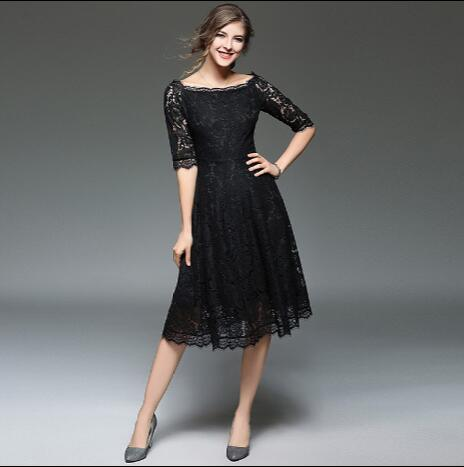 3b385ddecf Women Summer Lace Dress Female Elegant Nude Black Office Vestido Robe Femme  Designer Casual A-Line Sundress Sweet Clothing AW559
