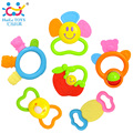6pcs/Lot 100% Brand New Huile Toys Lovely Baby Teether Infant Round Bell Teething Ring Cartoon Baby Teething Toys Xmas Gifts