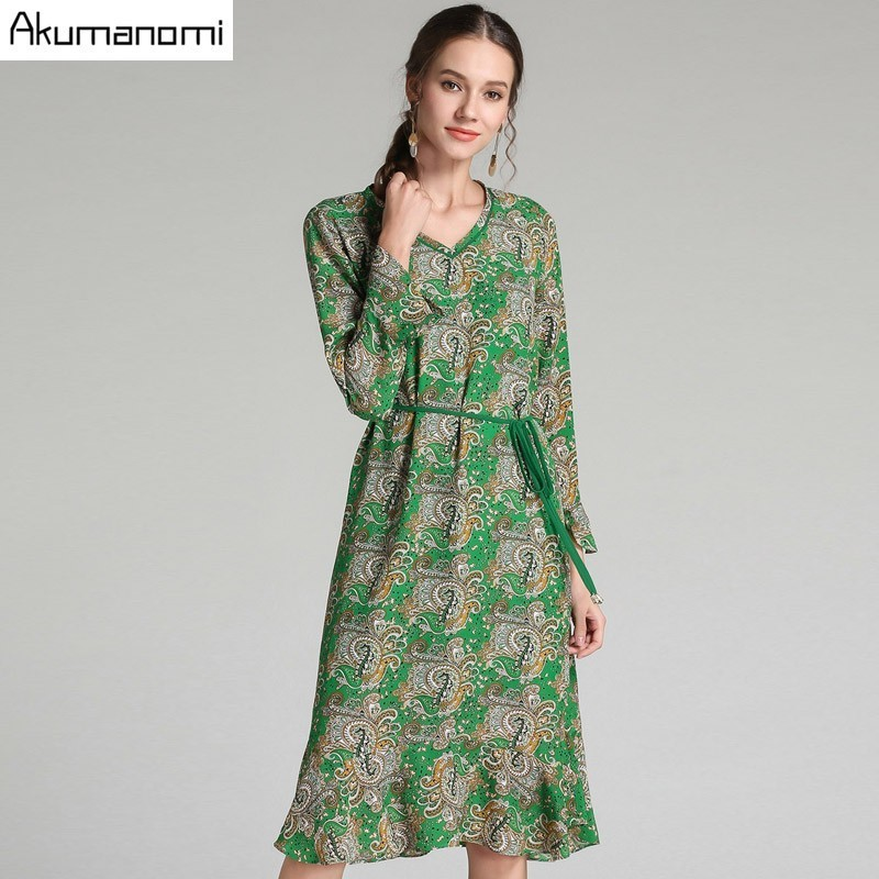 Autumn Chiffon Totem Print Dress Women Clothing Green V neck Flare Full Sleeve Sashes Spring Dress