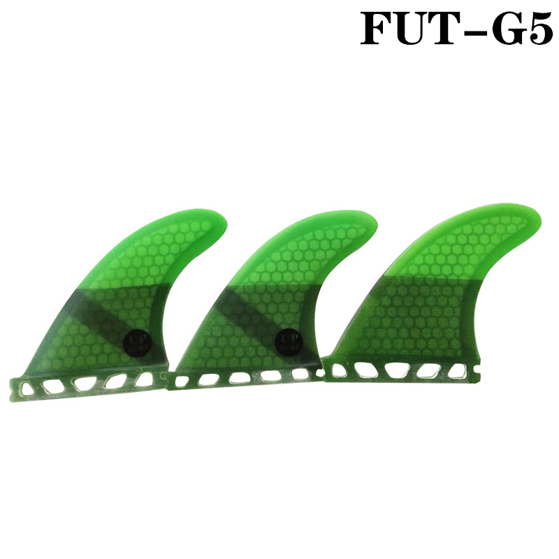 Surfing Paddling Future Fins G5 Honeycomb Fiberglass Fin Surfboard Fin Pure Color Fins Green Color Available 3pc per set Quilhas
