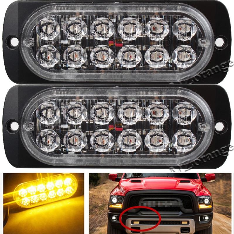 1x Car Truck Red White 12LED External Warning Lamp Emergency Flash Strobe Lights