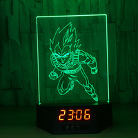 Dragon Ball Z Vegeta 3D Lamp Figures Perpetual Calendar Time Night Light Colorful Changing Table Lamp For Chilidren Light