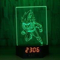Dragon Ball Z Vegeta 3D Lamp Figures Perpetual Calendar Time Night Light Colorful Changing Table Lamp For Chilidren Light