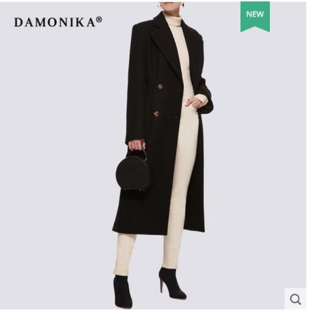 Double sided cashmere overcoat for women new 2018 medium long dark green autumn and winter woollen
