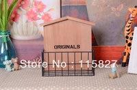 Free Shipping American Pastoral Wooden Storage Holder Magazine Holder CD Books Holder Wooden Storage Case Wooden
