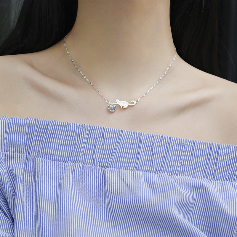 CBO04 Cat Moonstone Necklace Female Sterling Silver Simple Student Clavicle Chain Female
