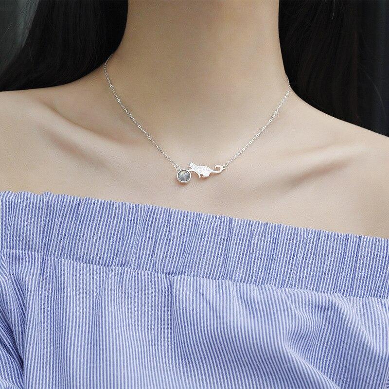 CBO04 collier pierre de lune chat femelle argent Sterling Simple étudiant clavicule chaîne femelle