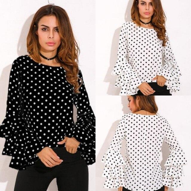 e5e6174627f Plus Size Women Clothing Black White Polka Dot Long Butterfly Sleeve Women  Chiffon Blouse Shirt Ruffles Women Tops 3XL 4XL 5XL