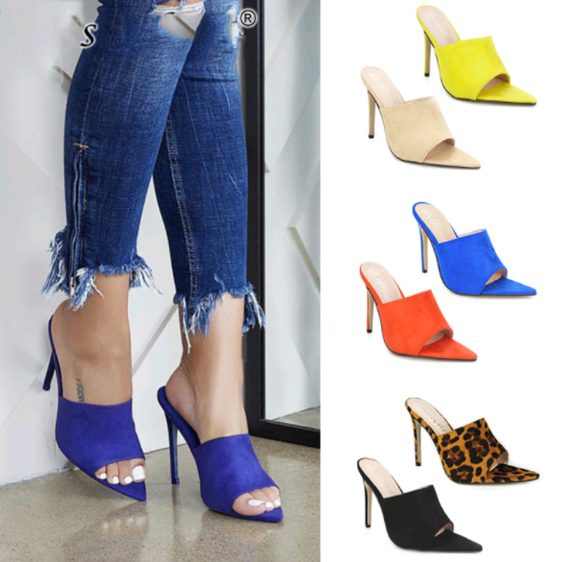 Women Slippers Open Toe Super High Heel Sandals Summer Outdoor Fine Heel Pointed Toe Casual Female Shoes Slippers Big Size 35 43 in Slippers from Shoes