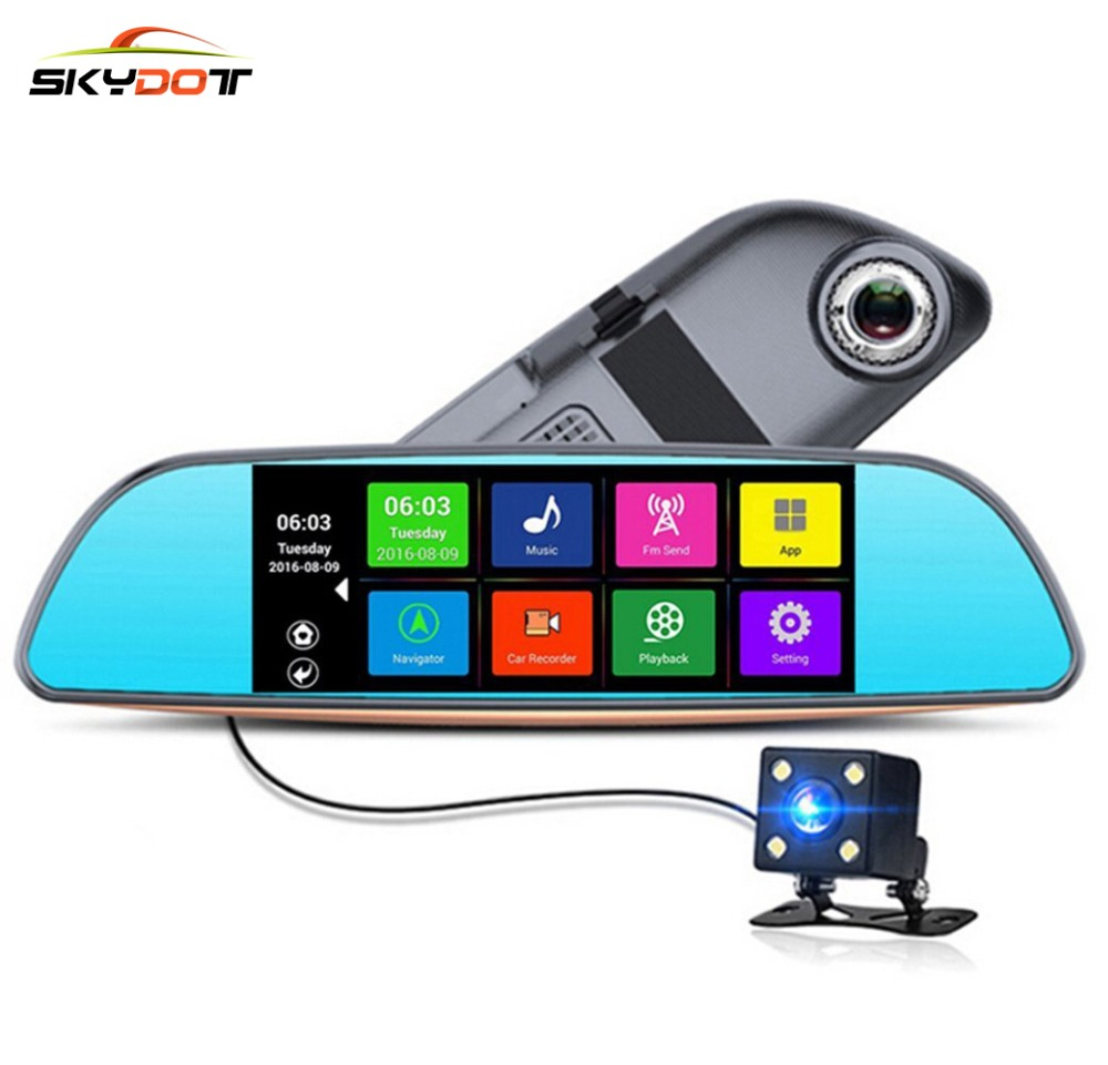 Skydot 686 Touch Car Rearview Mirror Gps Navigation Dash Cam Ram Way Gradienter Switch Sensor Click Here To Buy Now 1gb Rom 16g Android Dvr Dual Lens Wifi Fm Auto Video Recorder