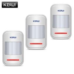 KERUI system alarmowy w domu czujnik podczerwieni PIR jest stosowany w GSM PSTN 3 sztuk/partia wbudowana antena Bezprzewodowy czujnik ruchu PIR detektor
