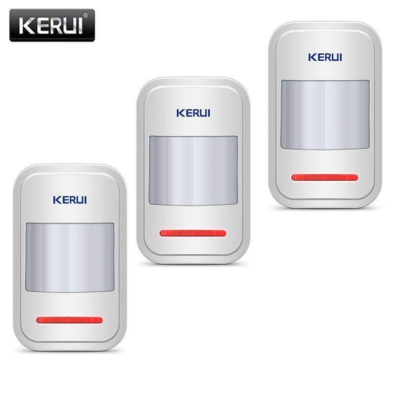 Sistema de alarma para el hogar KERUI el Sensor infrarrojo PIR se utiliza en GSM PSTN 3 unids/lote antena incorporada Sensor de movimiento PIR inalámbrico Detector