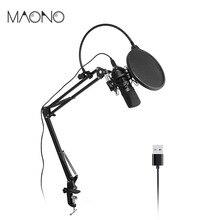 MAONO Kit Podcast Microfone Condensador USB Microfone Gravação Microfone de Estúdio Profissional para Laptop Skype YouTube Mikrofon