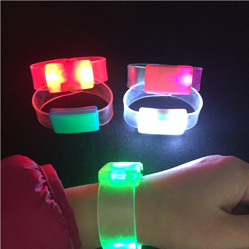 Custom Logo Colorful Changing LED Flashing Light Up Glowing Bracelet Toys Party Christmas Decoration Supplies Glow