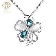 2017 New Arrival Blue Austrian Crystal Opal Stone Flower Pendant Necklace /Rose/White Gold Color Jewelry for Women