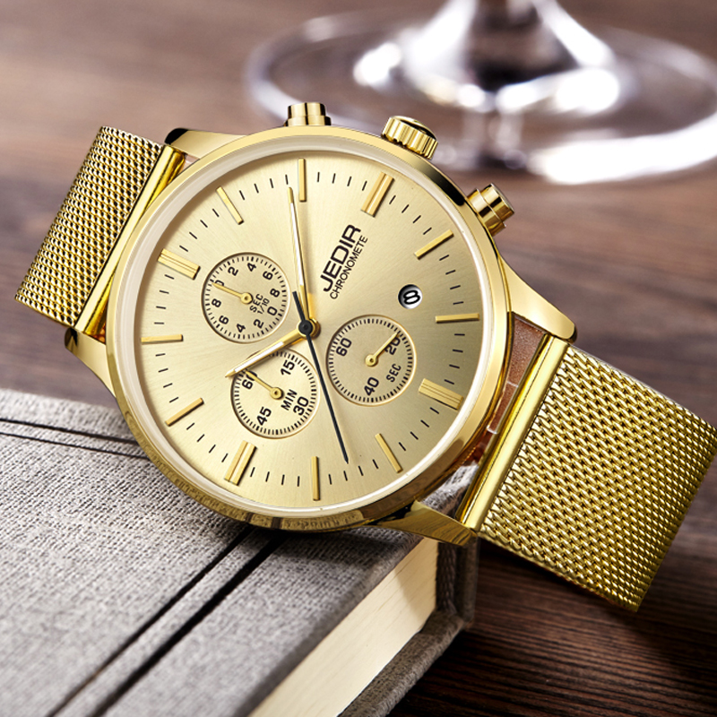 Gold Men Watch Hot Sale Fashion Sports quartz-watch stainless steel mesh top Brand men watches Smart Multi-function kol saati