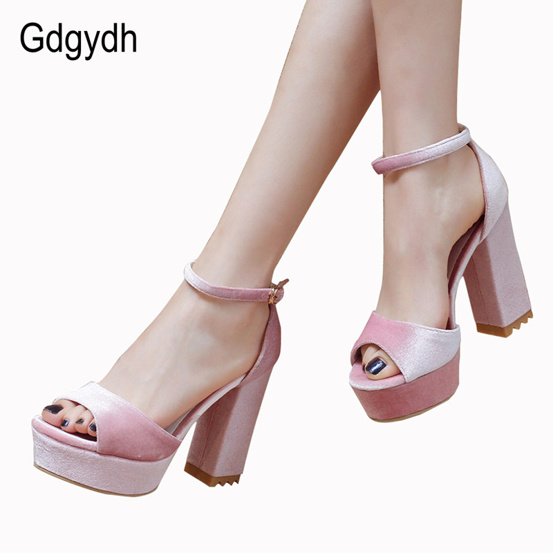 Gdgydh Casual Thick Heels Women Sandals Platform 2017 New Summer Ankle Strap Open Toe Summer Ladies Shoes on Heels Big Size 42