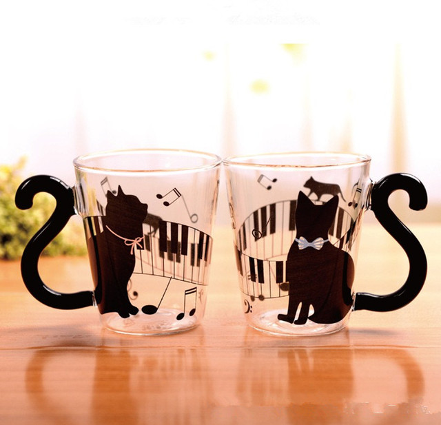 office cups. Novelty Cat Glass Mug Music Tea Cup Milk Coffee Couple Cups Home Office Mugs Nice Gifts T