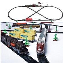 Дети электрический поезд игрушки сверхдальние 9.5 М трек со звуком и светом Ретро Современный локомотив лучшие детские игрушки мальчиков подарок