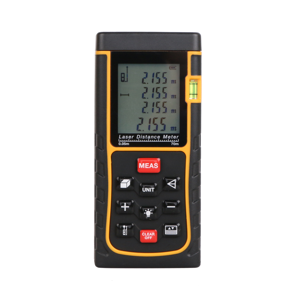 Digital Laser distance meter Bigger Bubble level tool Rangefinder Range finder Tape measure 70m Area/Volume Angle Tester 0 05m 70m 230ft professional handheld laser range finder distance meter tester area volume pythagorean measure tecman tm70