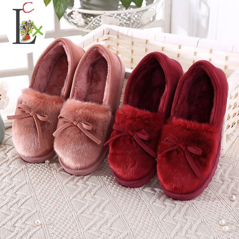 2017 New Bowtie Plush slipper Warm Soft Sole Women Indoor Floor Slippers Shoes Animal Shape indoor