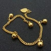 Halhal Zincir Çan Ile Katı Sarı Altın Dolgulu Womens Zincir Bağlantı 6.88