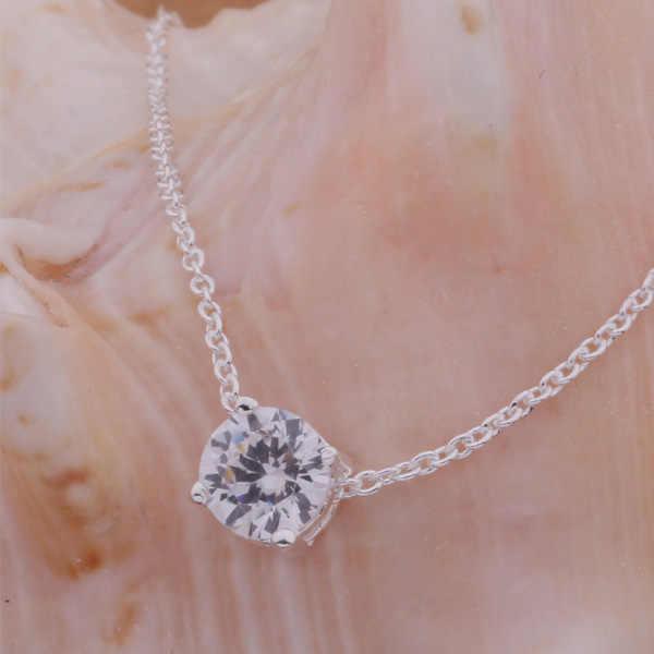 AN586 الساخن 925 الاسترليني قلادة فضية 925 الفضة قلادة مجوهرات على الموضة حجر شفاف/gamappta bcyajufa