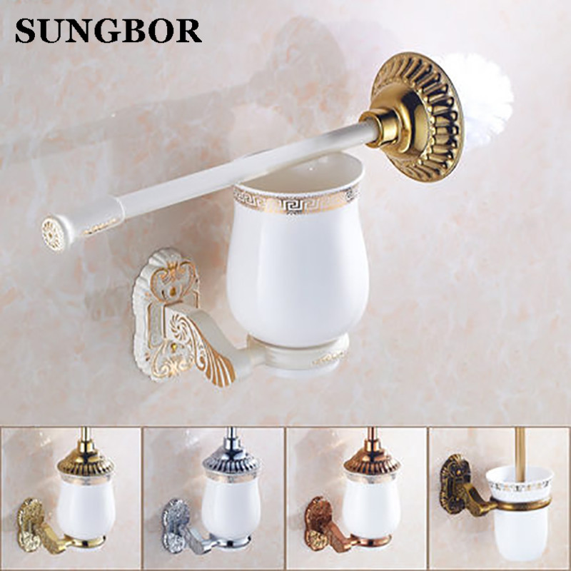 4-style Toilet Brush Holder Solid Brass Construction Base Ceramic Cup Antique Brass/golden/rose golden/oil rubbed bronze L-5809R toilet paper holder hanger brass marble wall mount set furniture silver gold antique brass rose golden 4 color gjke5005