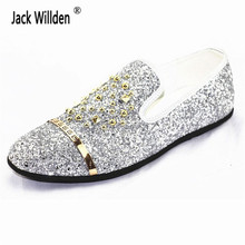 Fashion Man Rivets Beading Glitter Loafers Mens Slip-on Genuine Leather  Driving Party Flats Men s Moccasins Oxfords Casual Shoes cc370662420d