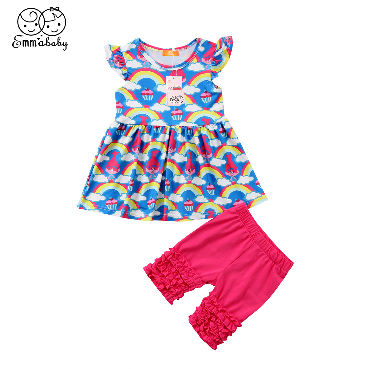 2018 new cute Rainbow outfit set 2pcs Newborn Toddler Baby Girls Cartoon ruffles Tutu Dress Tops+short Pants Outfits Clothes set fashion 2pcs set newborn baby girls jumpsuit toddler girls flower pattern outfit clothes romper bodysuit pants