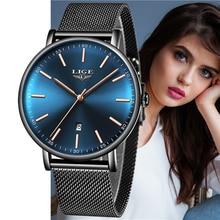 купить LIGE Women Luxury Brand Watch 2019 Fashion Ladies Waterproof Quartz Watches Blue Lady Wristwatch Relogio Feminino Reloj Mujer по цене 1121.31 рублей