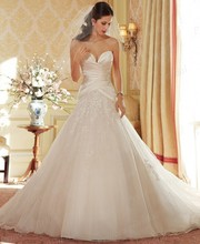 Free Shipping Grecian Style Ball Gown Sweetheart Neckline Sweep Train Tulle Wedding Dress Patterns Free With Appliques ST11404