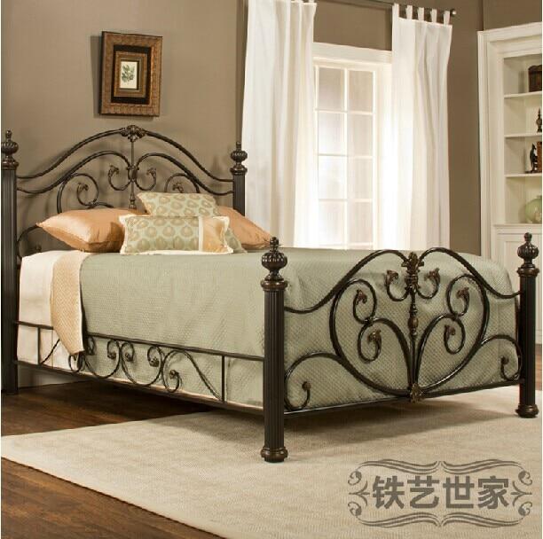 Al estilo europeo jardín princesa retro hierro forjado cama cama ...