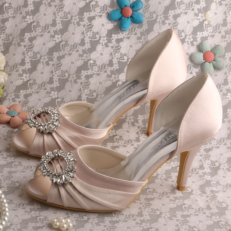 Wedopus Nude Color Shoes Peep Toe Cut outs Stiletto Heel Satin Wedding Bridal Women's Shoes 20 colors wedopus custom handmade large size bow bridal shoes ivory low heel peep toe