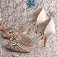 Wedopus Sapatos Cor Nu Peep Toe recortes Estilete das Mulheres Sapatos de Salto de Cetim Nupcial Do Casamento