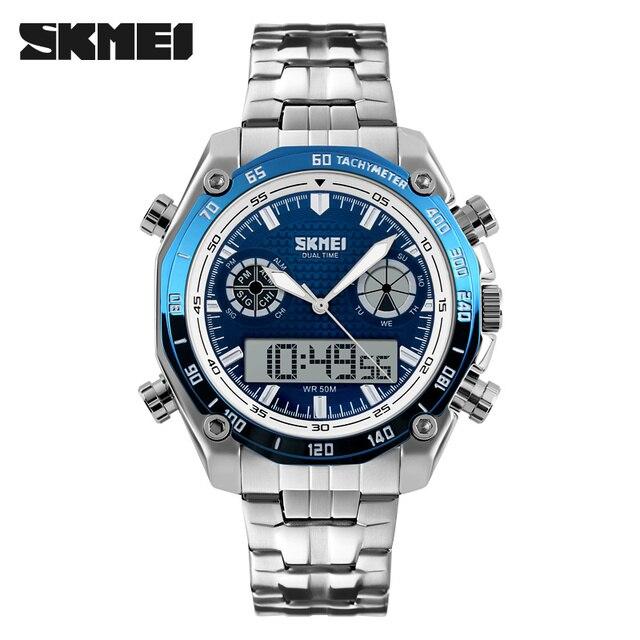SKMEI Brand Men Digital Wristwatch Fashion Sport Electronic Quartz Male Watches Stainless Steel Dual Display Wristwatches Relogi