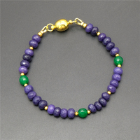 Vintage Classic Natural Stone Jewelry Elegant Noble Dark Purple Blue Chalcedony And Emerald Beaded Chain Strand