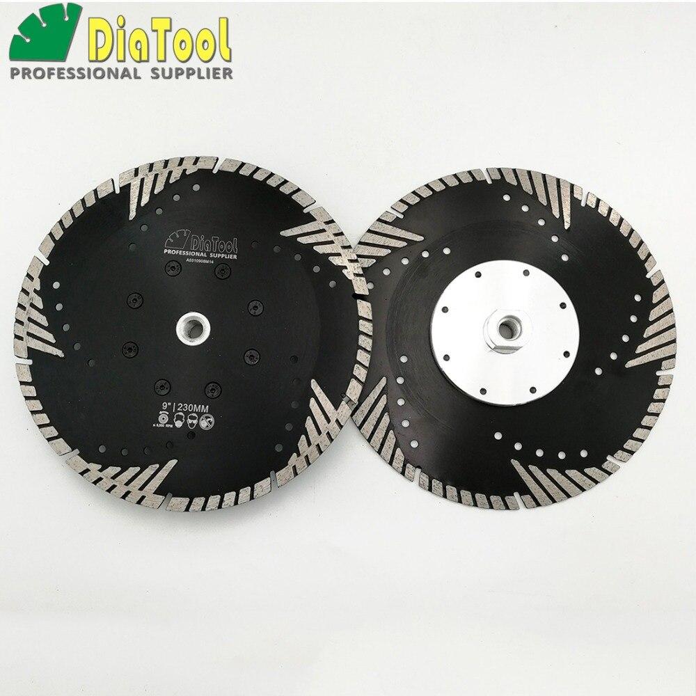 DIATOOL 2pcs 9 230MM Diamond Saw Blades Cutting Discs M14 Thread Multi Purpose With Slant Turbo
