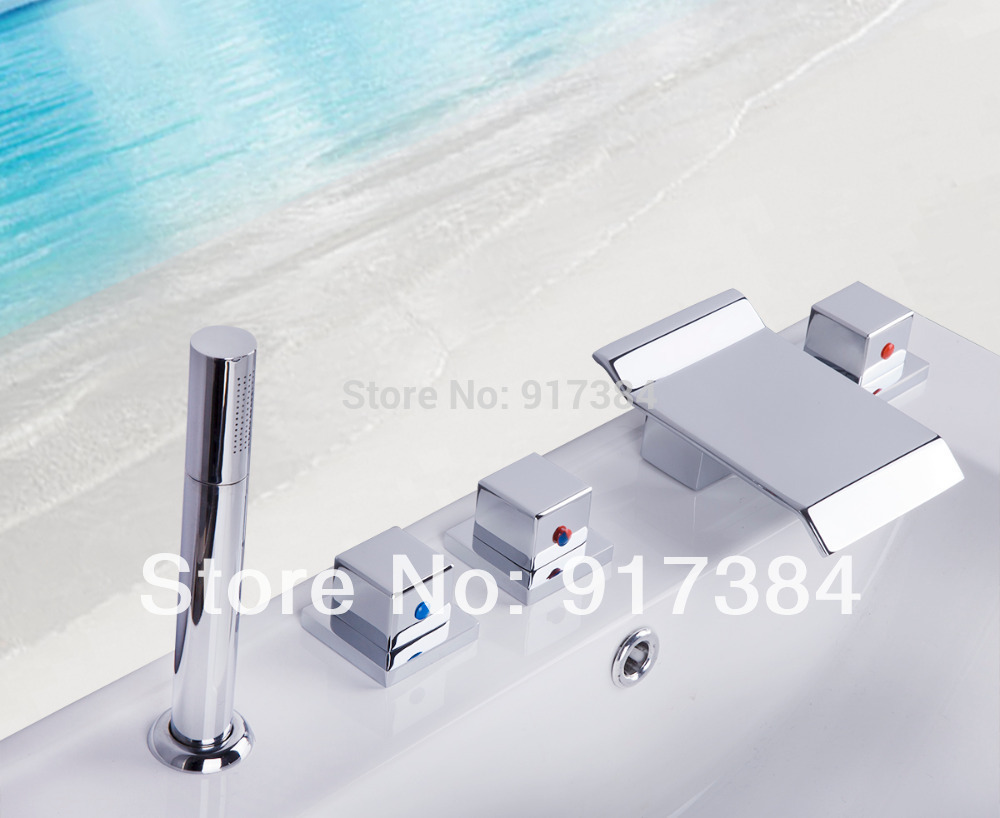 Contemporary Deck Mounted  5Pcs Brass Body  Bathroom Bathtub Sink Mixer Tap Chrome Finish Faucet Set LY-24DD1 free shipping polished chrome finish new wall mounted waterfall bathroom bathtub handheld shower tap mixer faucet yt 5333