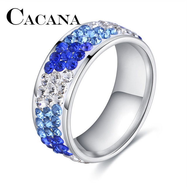 CACANA Titanium Stainless Steel Rings For Women Three Rows Cubic Zirconia Circle