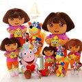 Envío de la Nueva Dora aventureira niños juguetes Aventura Aventura Niños Regalo de Cumpleaños Lindo Mono Chica Muñeco de Trapo 3 unids