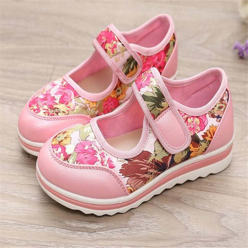 girls princess shoes 2017 spring new children s light shoes Printed hook loop flat casual shoes