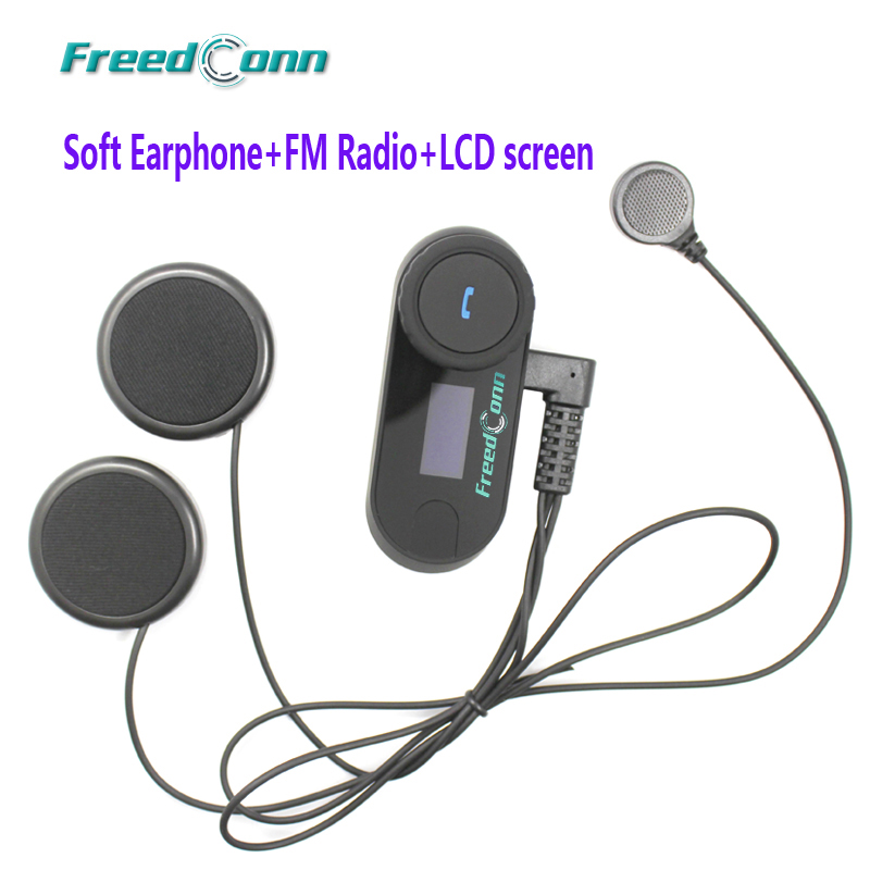 Soft Earpiece FreedConn TCOM SC BT Interphone Bluetooth Motorcycle Helmet Intercom Headset LCD Screen with FM
